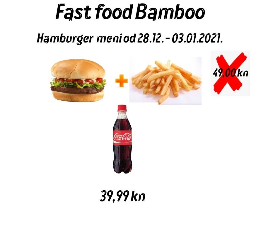 Promocija _ Fast food Bamboo do 03.01.2021. gradis Cola uz burger meni